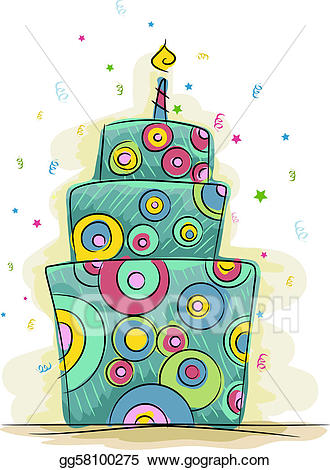 Stock illustration gg gograph. Cake clipart funky