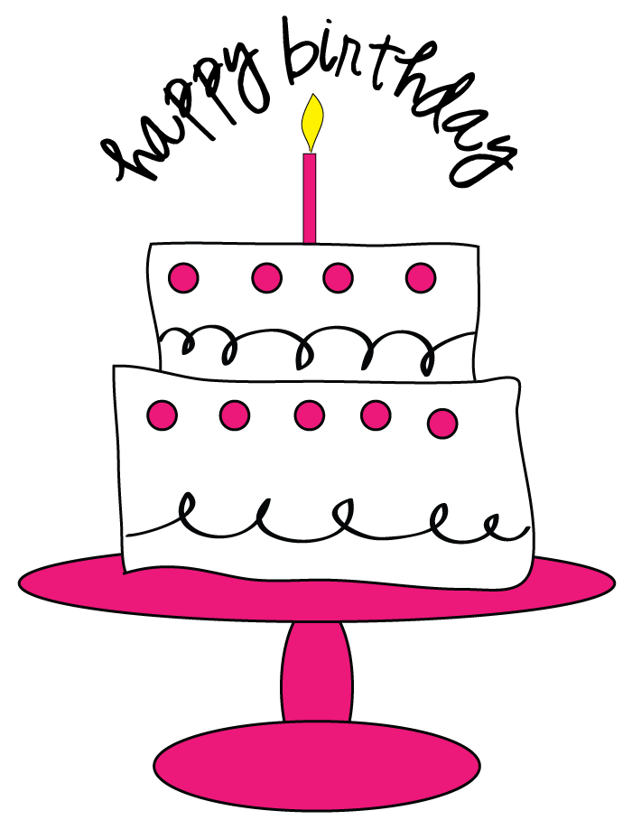 Free cake for craft. Clipart rose birthday