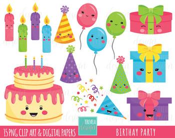 sale birthday party. Clipart cake kawaii