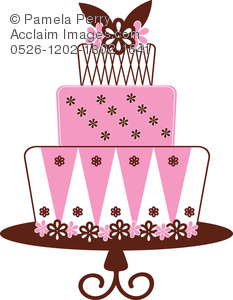 Cake clipart layered cake. Clip art illustration of