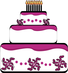 Three tiered pink . Cake clipart layered cake