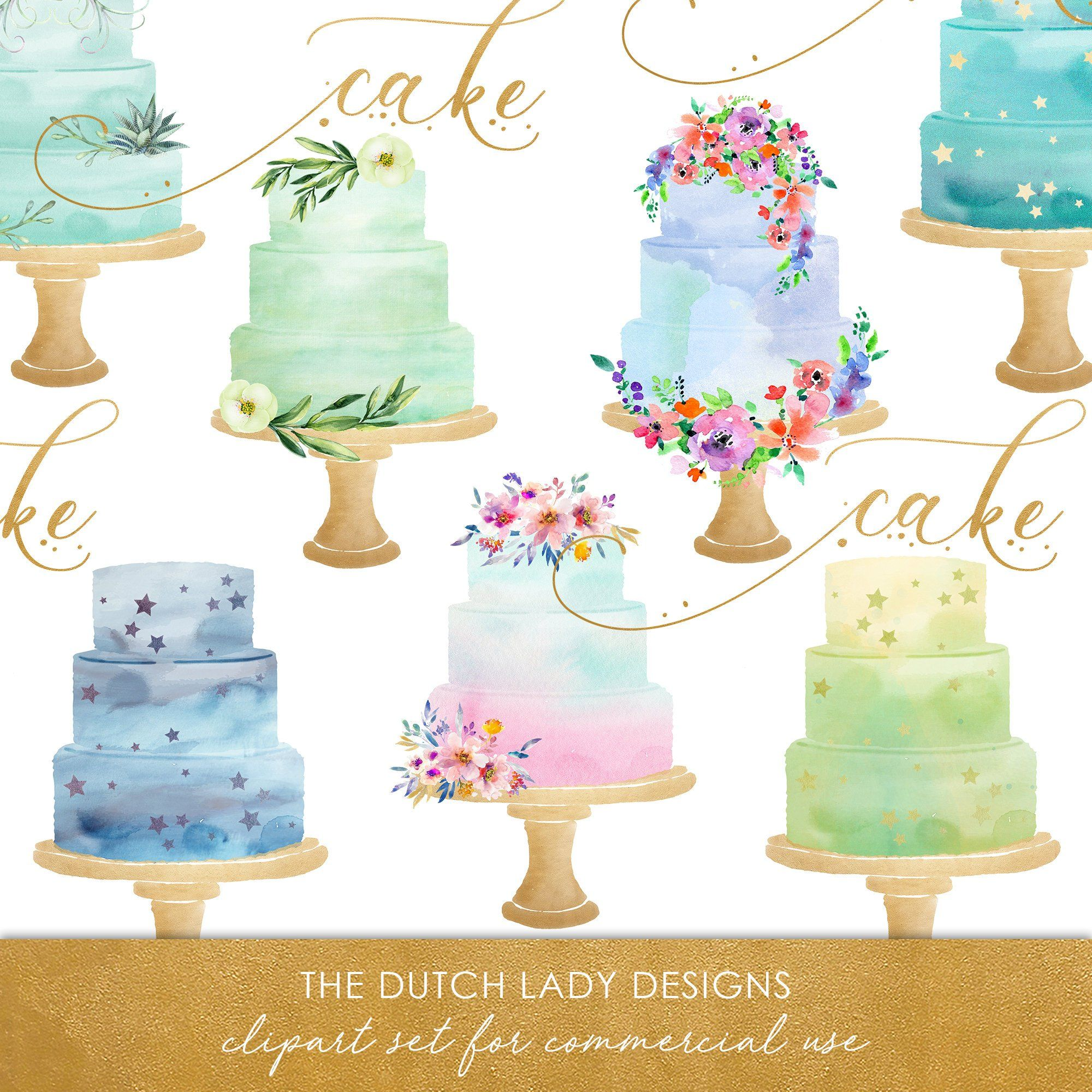 Clipart cake turquoise. Watercolor wedding in aqua