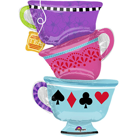 Cake clipart mad hatter. Tea cups balloons foil