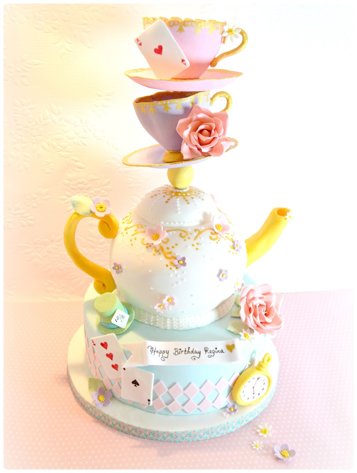 Cake clipart mad hatter. Topsy turvy teapot and