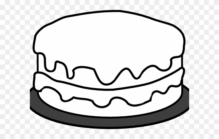 Birthday outline . Clipart cake simple