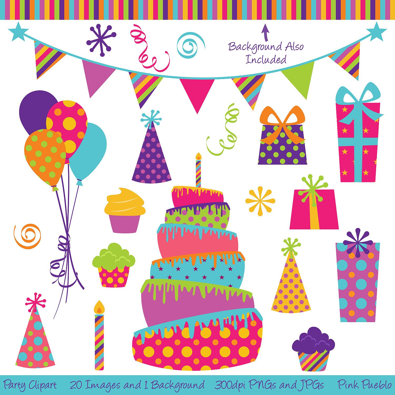 Cake clipart printable. Party clip art birthday