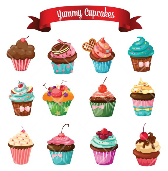 Yummy delicious cupcake muffins. Cake clipart printable