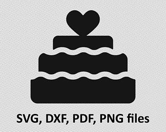 Cake clipart silhouette. Svg etsy dxf wedding