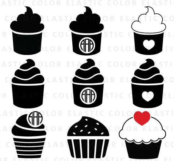 Cupcake svg cup digital. Cake clipart silhouette
