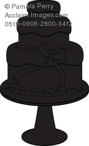 Cake clipart silhouette. Clip art illustration of