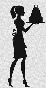 Lady birthday invitations free. Cake clipart silhouette
