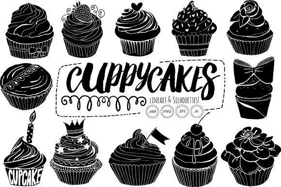 Birthday cupcake line art. Cake clipart silhouette
