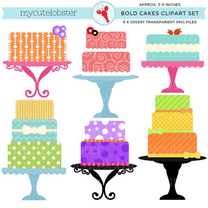 3 clipart cake. Bold cakes set clip
