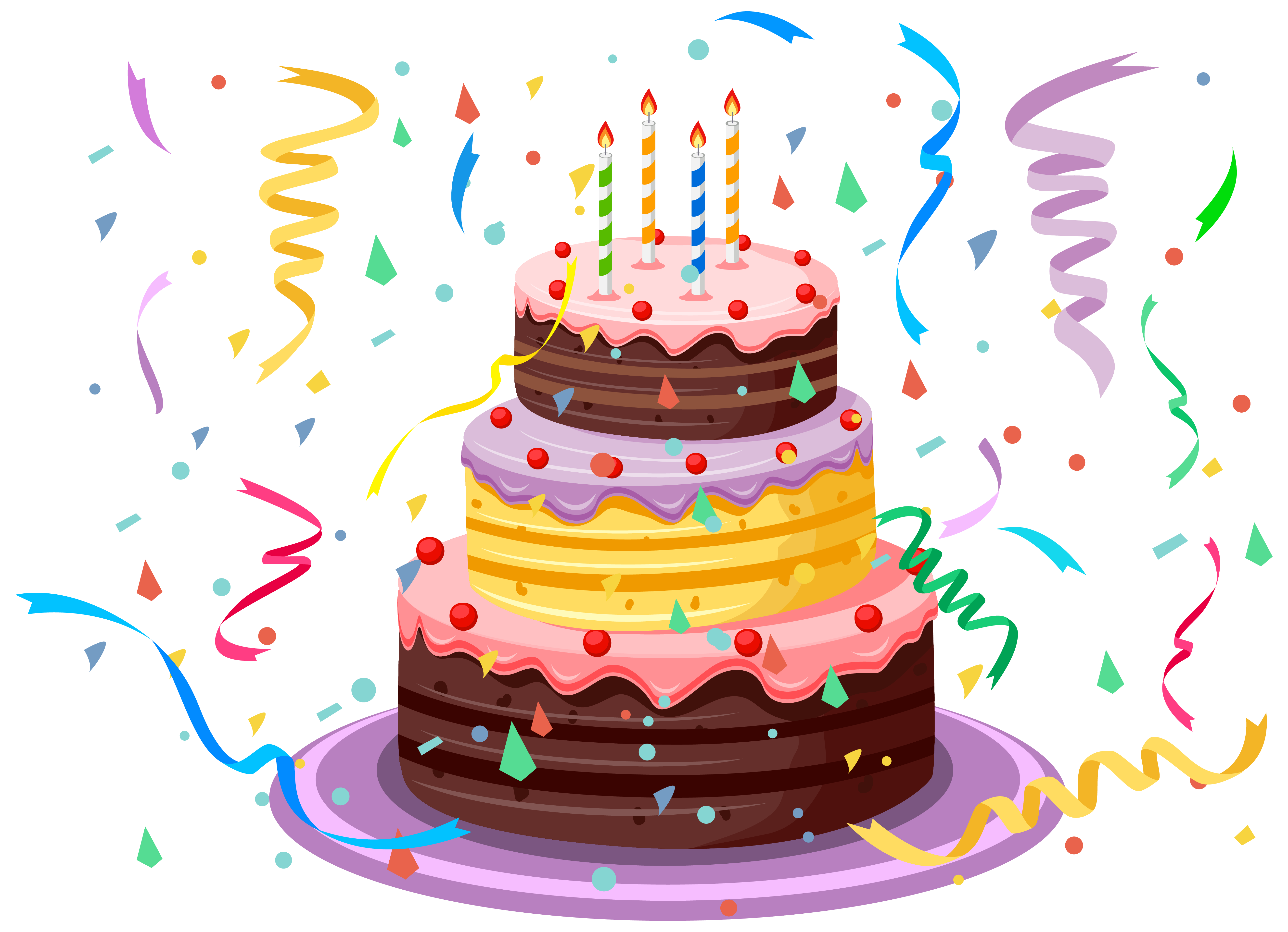 Cake clipart transparent background. Birthday with confetti png