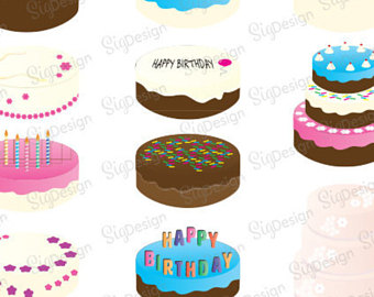 Birthday etsy commercial use. Cake clipart vector