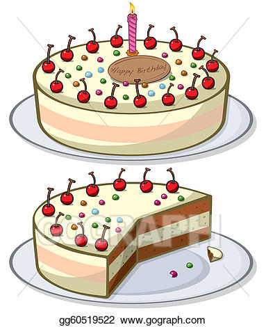 Art cherry drawing gg. Cake clipart vector