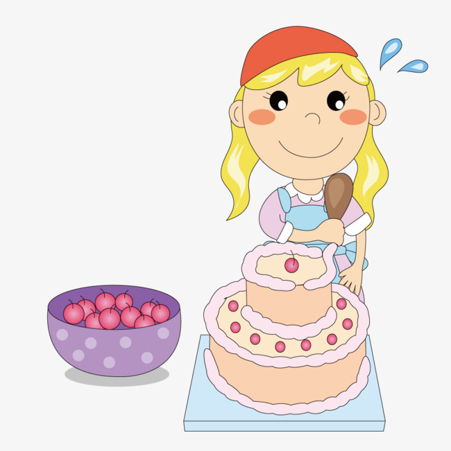 Make a girl character. Cake clipart vector