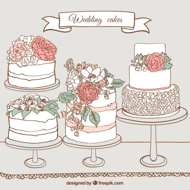 Cake clipart vector. Wedding drawn pencil and