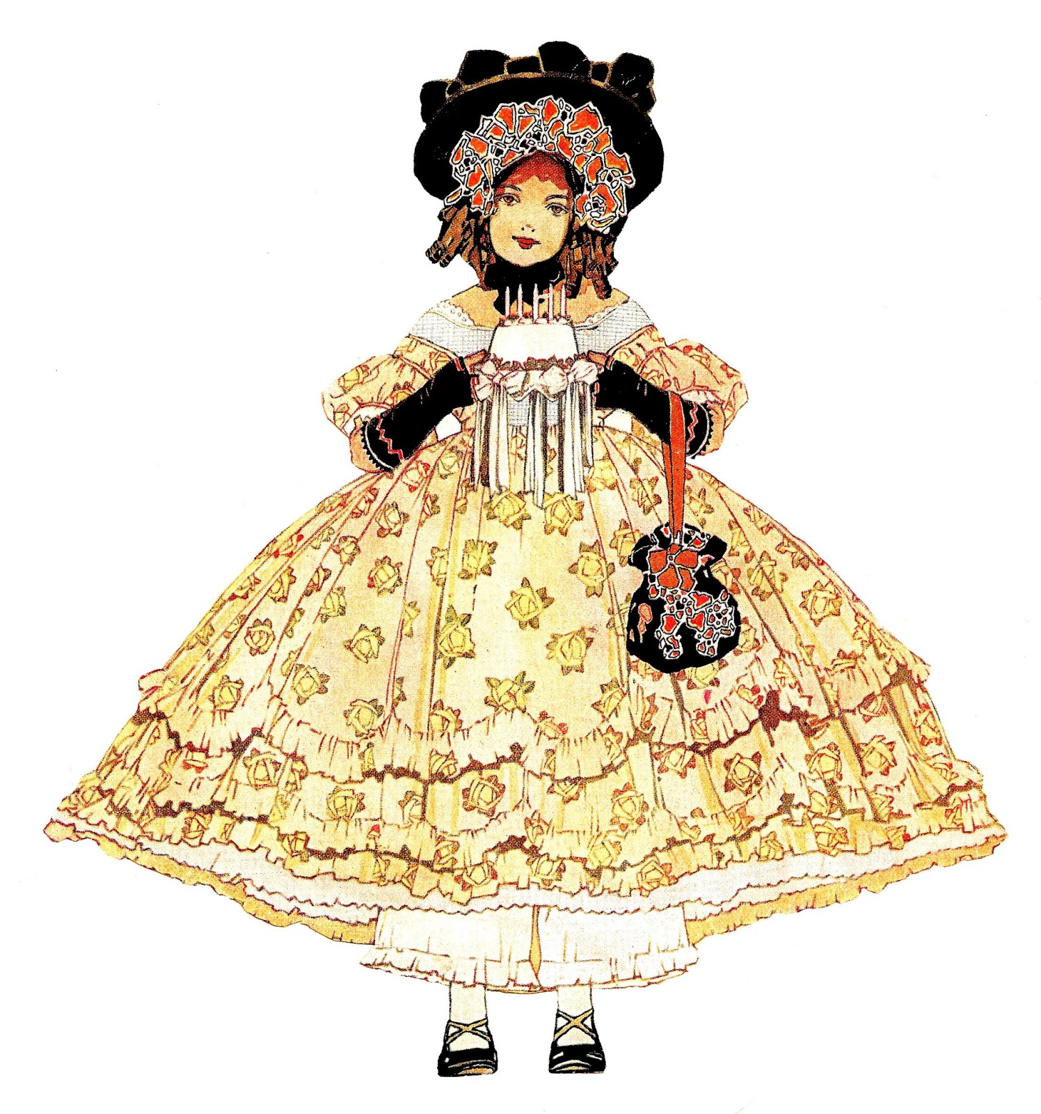 Cake clipart victorian. Antique images digital girl