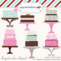 Watercolor set illustrations journal. Clipart cake whimsical