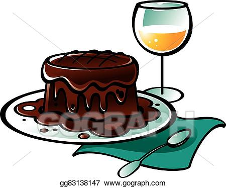 Vector stock chocolate pudding. Clipart cake wine