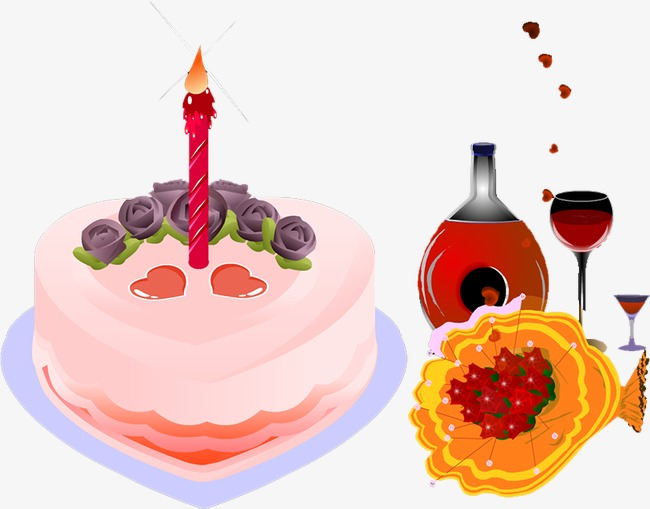 Clipart cake wine. Red flowers png image