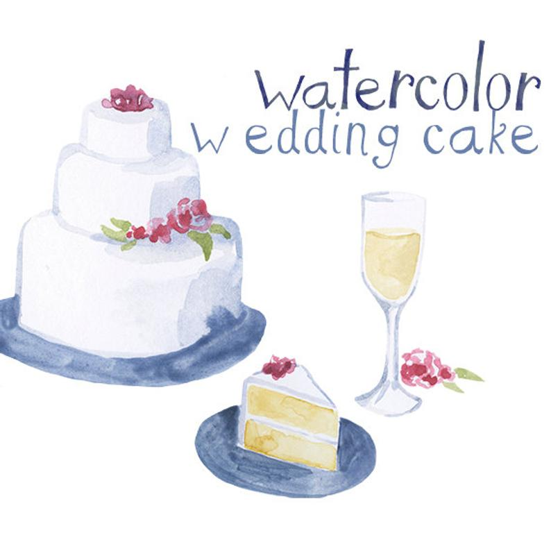 Clipart cake wine. Custom watercolor wedding reception
