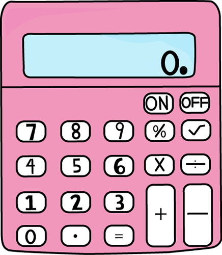 Pink clip art vector. Calculator clipart