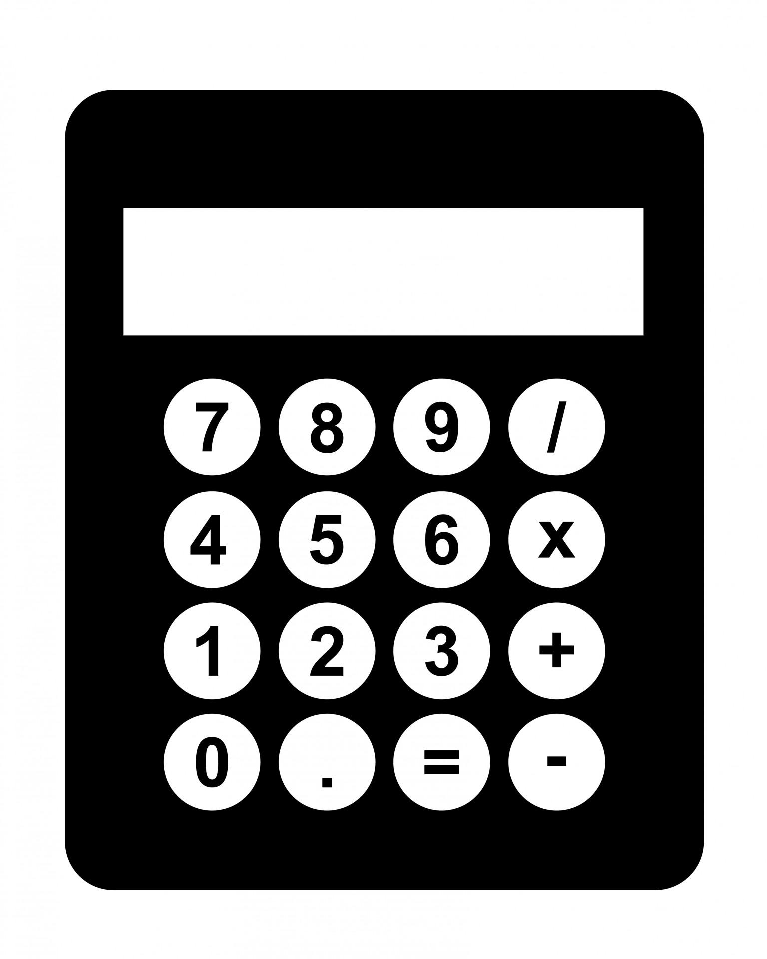 Black free stock photo. Calculator clipart