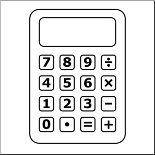 Calculator clipart. Clip art b w