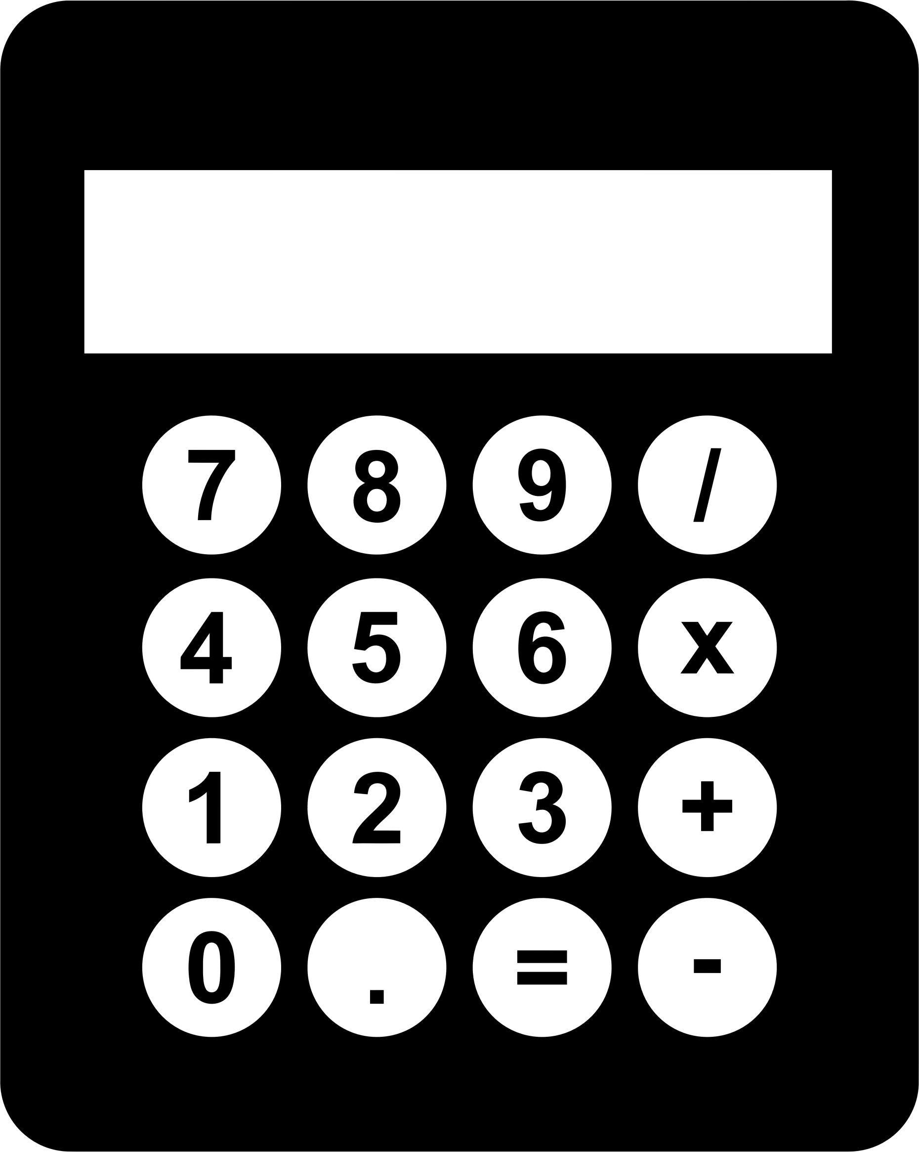 Big image png. Calculator clipart black and white