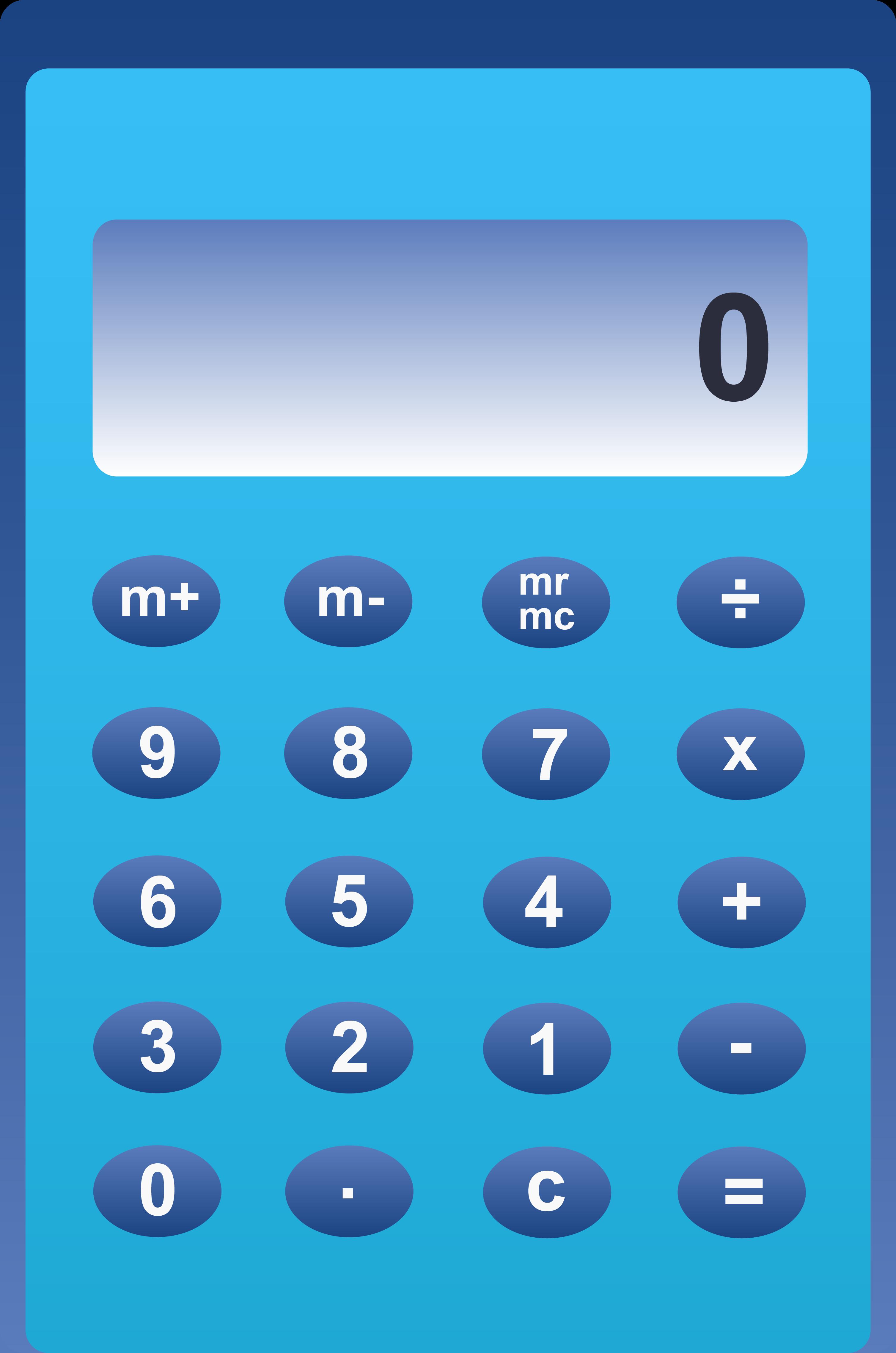 Calculator clipart blue.