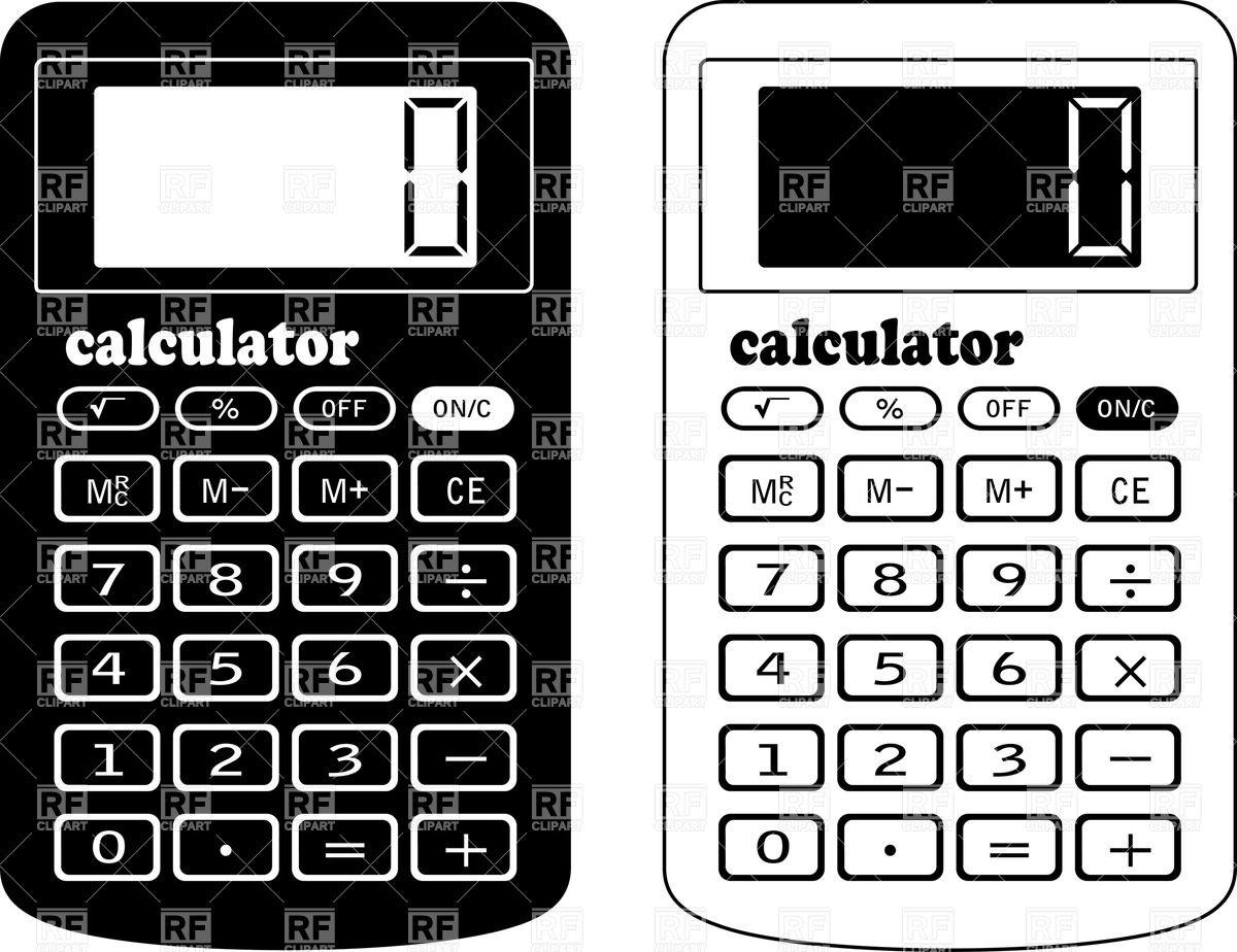 Black and white letters. Calculator clipart calulator