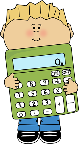 Boy holding a giant. Calculator clipart child