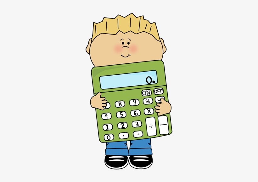 Calculator clipart child. Boy holding a giant