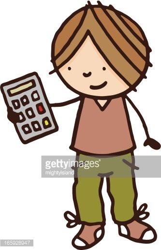 Boy holding a premium. Calculator clipart child
