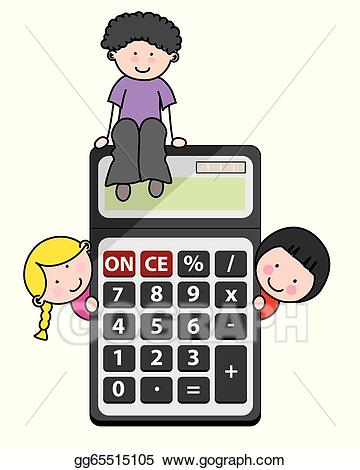 Vector stock children with. Calculator clipart child