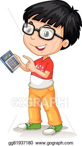 Vector stock little asian. Calculator clipart child