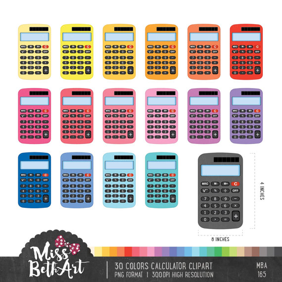 Calculator clipart colorful.  colors instant download
