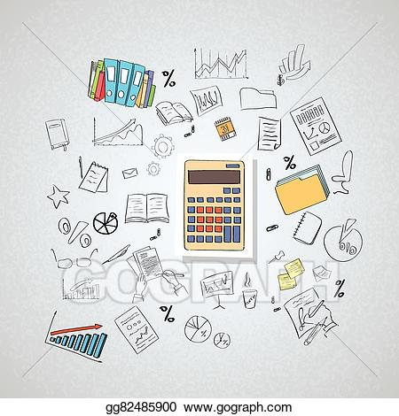 Vector accountant business hand. Calculator clipart doodle