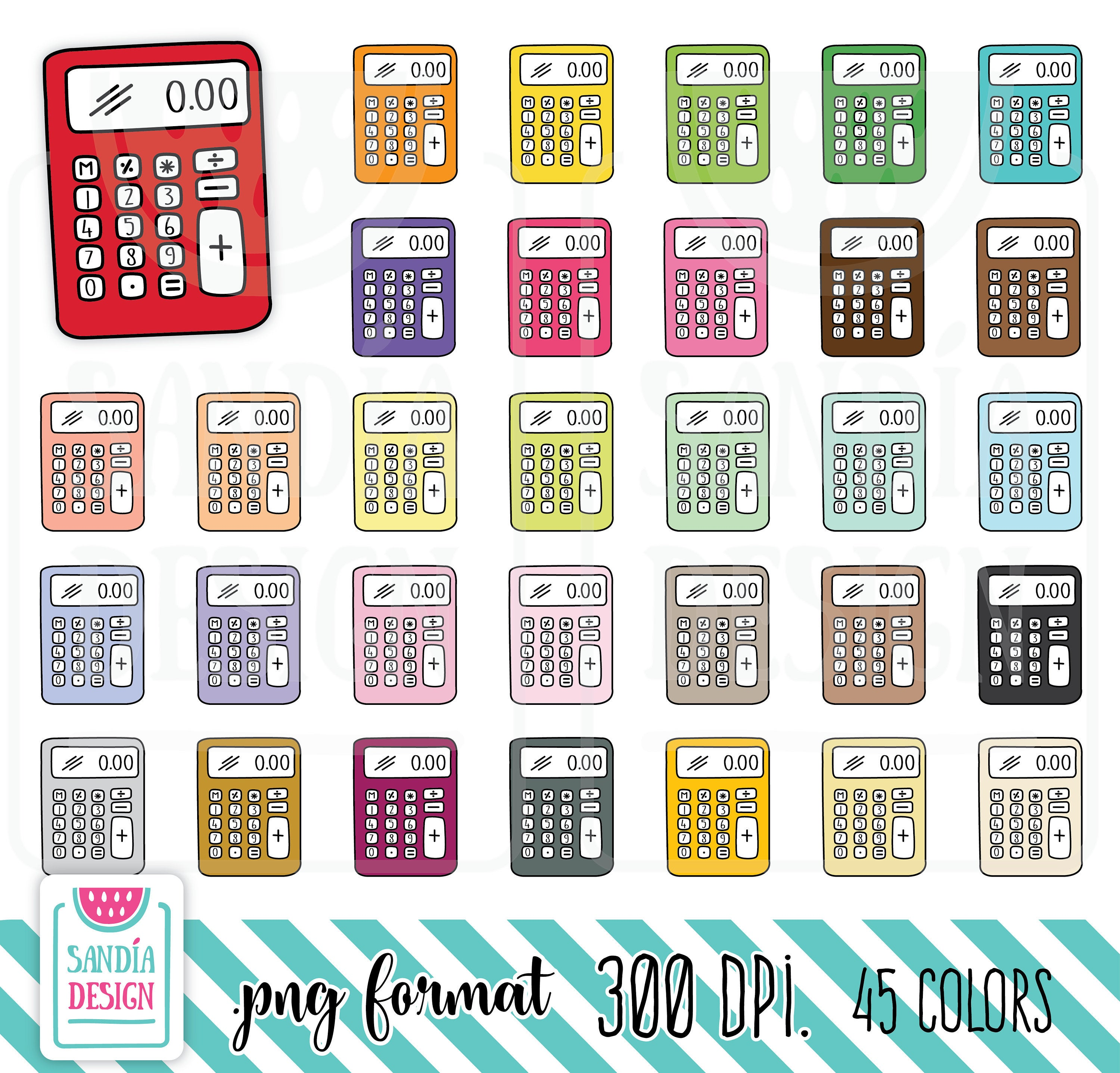personal and comercial. Calculator clipart doodle