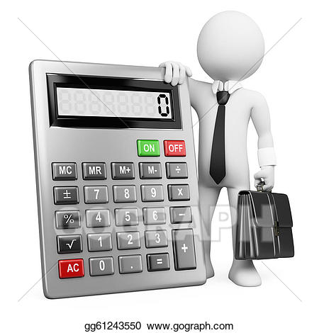 Stock illustration d business. Calculator clipart drawing
