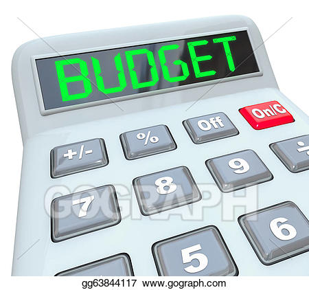 Calculator clipart drawing. Stock illustration budget word