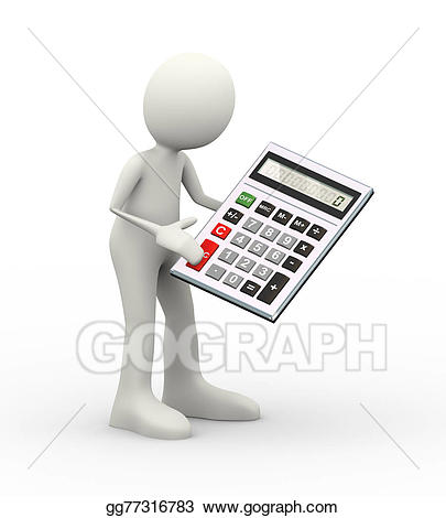 Calculator clipart drawing. Stock illustration d man