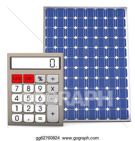 Stock illustration solar panel. Calculator clipart drawing
