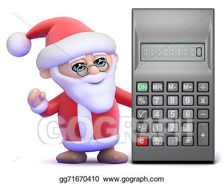Calculator clipart drawing. Stock illustration d santa