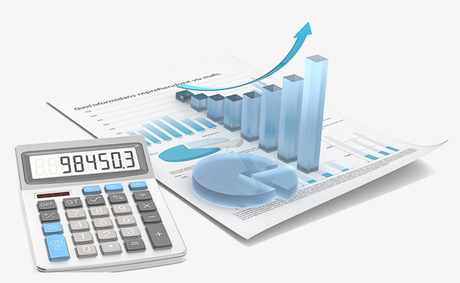 Business trend analysis with. Calculator clipart finance