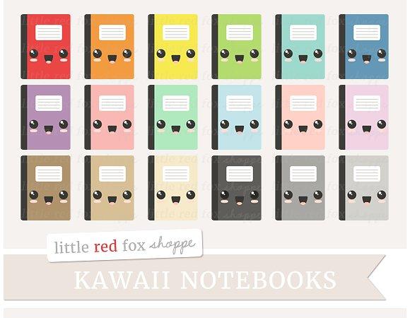 Calculator clipart kawaii. Notebook illustrations creative market