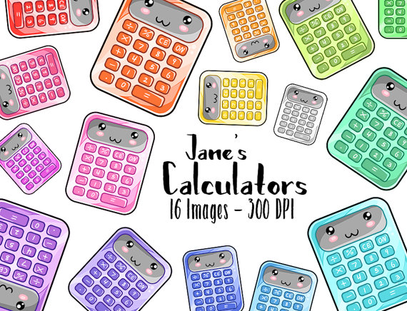 Calculator clipart kawaii. Math download school