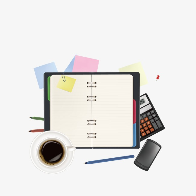 Notebook and supplies paper. Calculator clipart office items